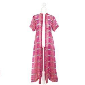 Nanette Lepore Pink Geometric Silk Caftan Robe 2